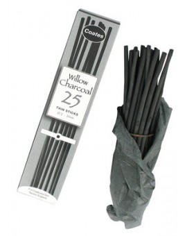 Coates houtskool 25 Thin Sticks