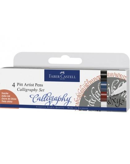 Kalligrafiepen Faber-Castell Pitt - set 4 kleuren