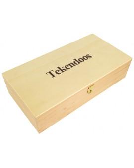 Tekendoos in ongelakt hout 24x12,5x6cm
