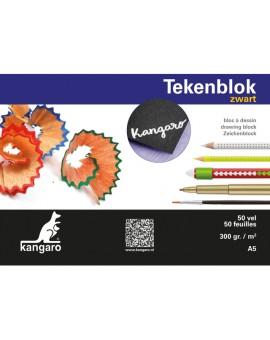 Zwart tekenkarton Kangaro A5 - blok 50 vel
