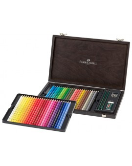 Faber-Castell - 48 Polychromos met accessoires in houten koffer