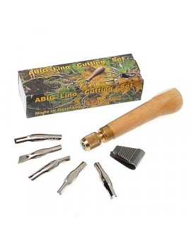 Abig set 5 linomesjes + houten houder met schroef