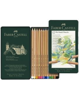 Faber-Castell - set 12 Pitt Pastelpotloden in metalen etui