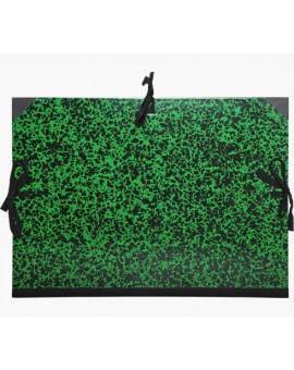 Tekeningenmap met linten - groen gemarmerd