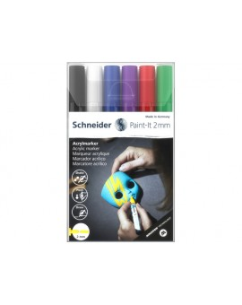 Schneider Acryl Markers Paint-it 2mm - etui met 6 markers