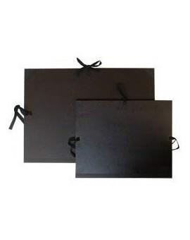 Tekeningenmap met linten - zwarte kraft