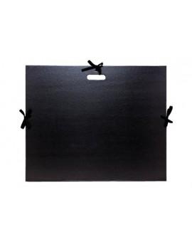Tekeningenmap met handvat en linten - zwarte kraft